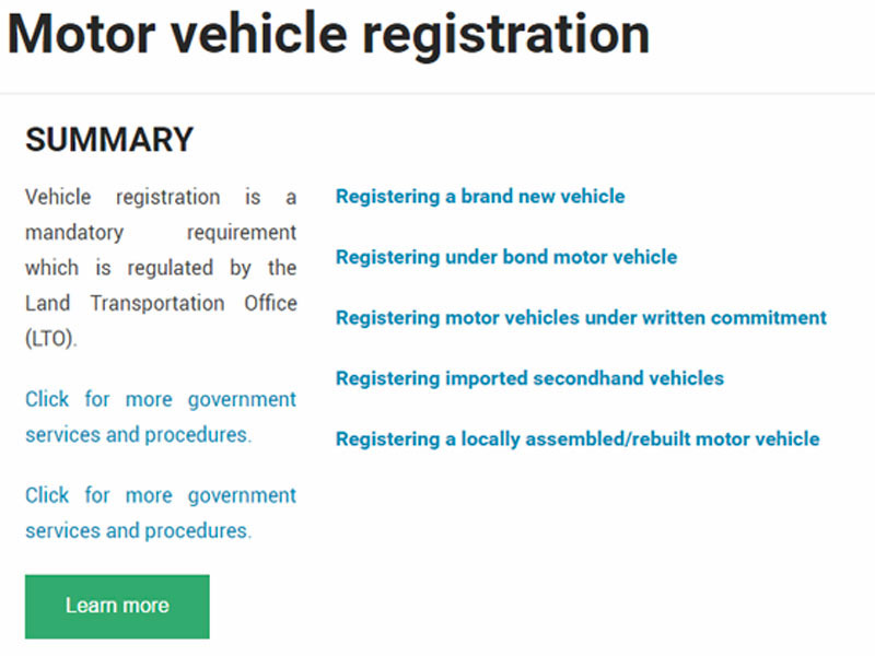 You Can Also Learn About MV Registration and Drivers Licenses On Gov.PH